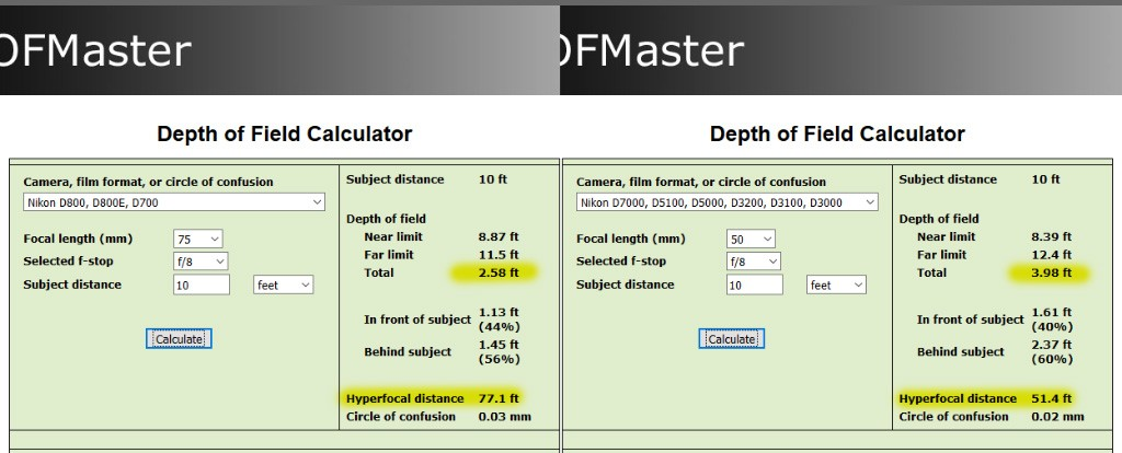 how to use dof calculator