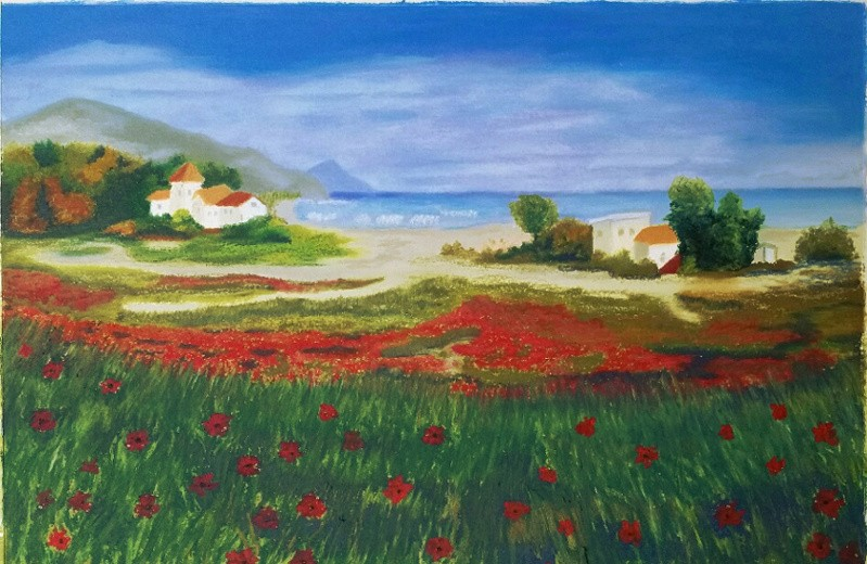 Landscape with flowers and sea.jpg