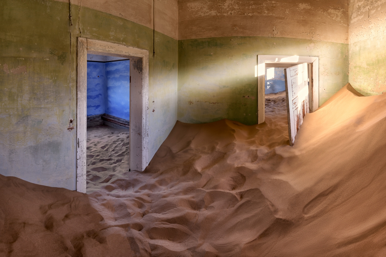 Abandoned House Full of Sand in the Ghost Town of Kolmanskop, Na