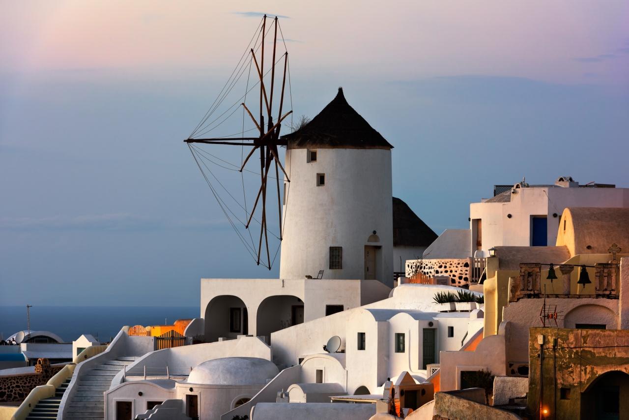 Windmills of Oia Village at Sunset, Santorini, Greece